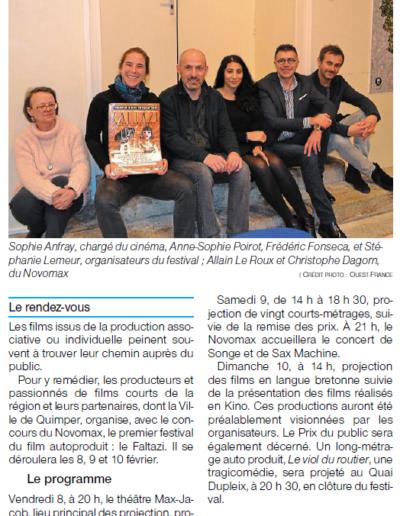 Ouest-France Lundi 28 Janvier 2019
